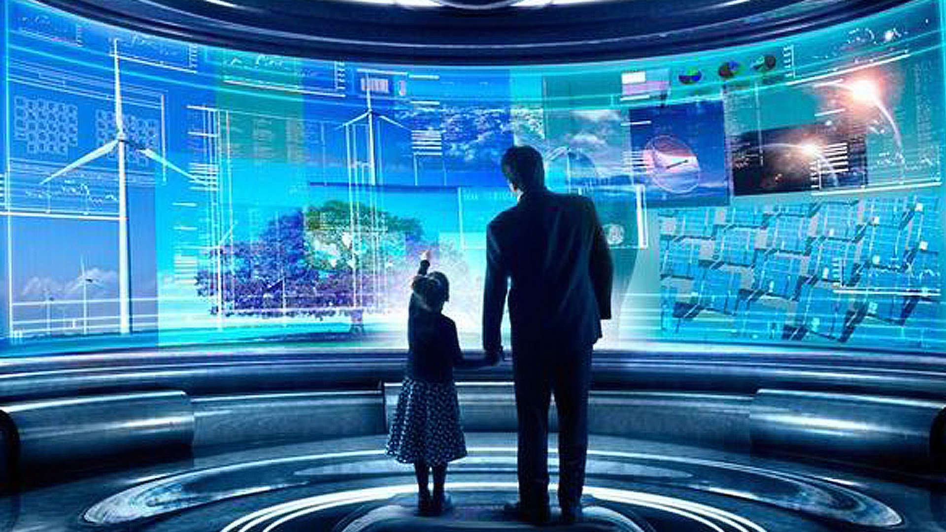 daughter and father looking at the technology led screen